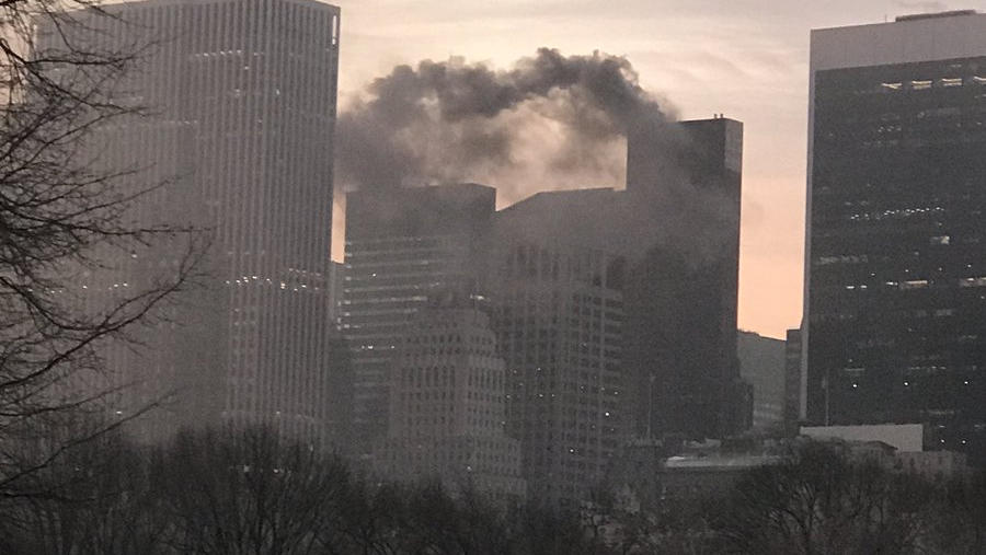 Trump Tower in New York brennt