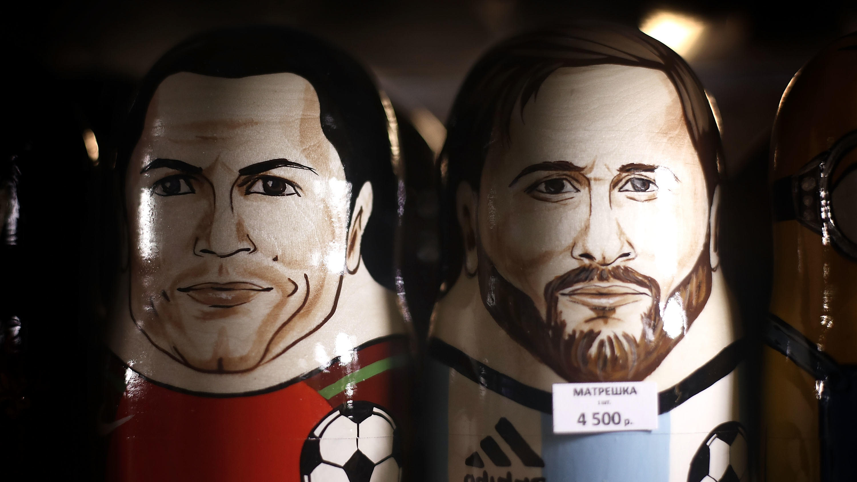 MOSCOW, RUSSIA - JUNE 08:  Russian Matryoshka dolls of Cristiano Ronaldo of Portugal and Lionel Messi of Argentina are seen in a souvenir souvenir shop ahead of the 2018 FIFA World Cup on June 8, 2018 in Moscow, Russia.  (Photo by Ryan Pierse/Getty I