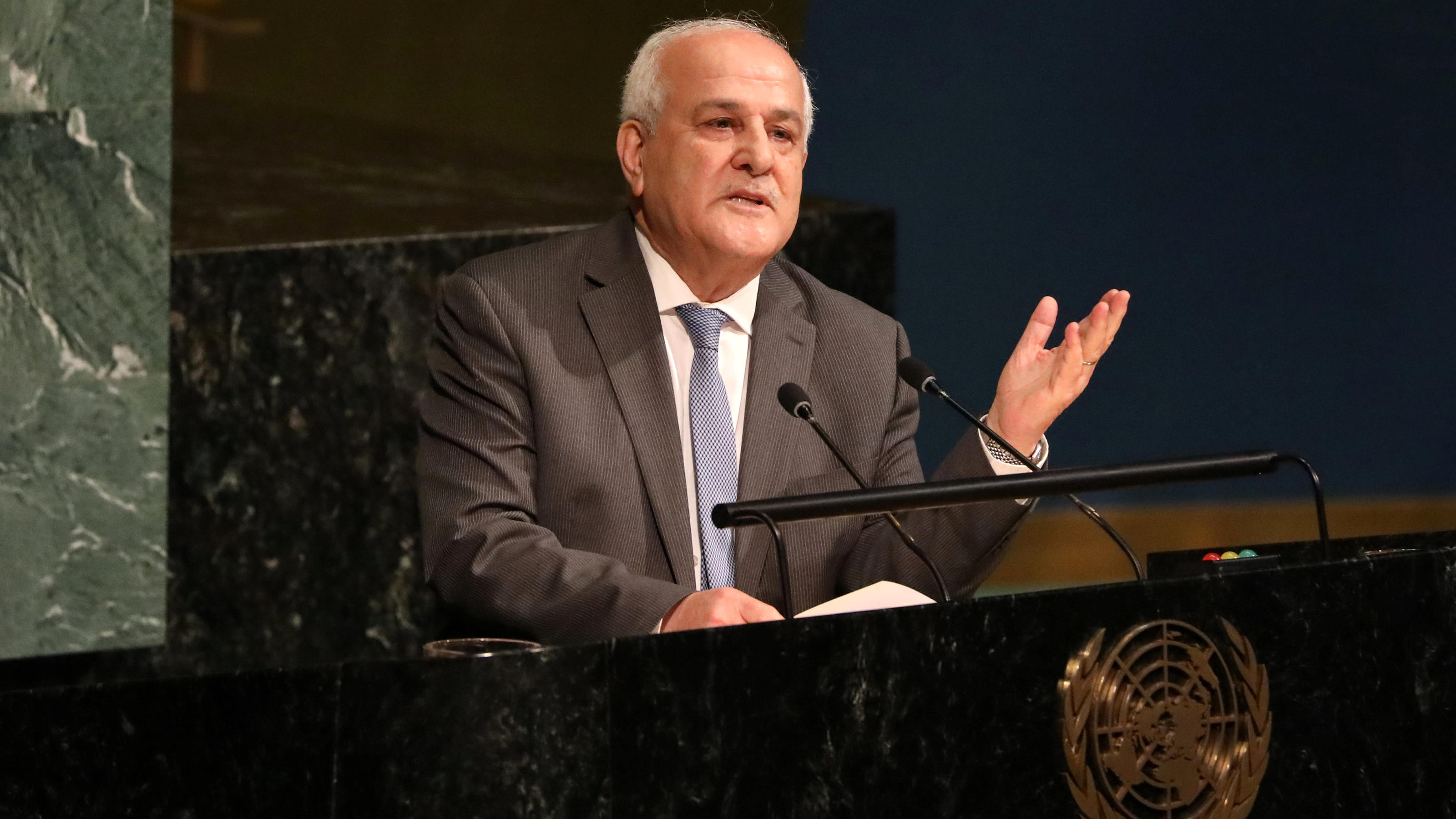 Palestinian Ambassador to the United Nations Riyad Mansour addresses a United Nations General Assembly meeting ahead of a vote on a draft resolution that would deplore the use of excessive force by Israeli troops against Palestinian civilians at U.N.