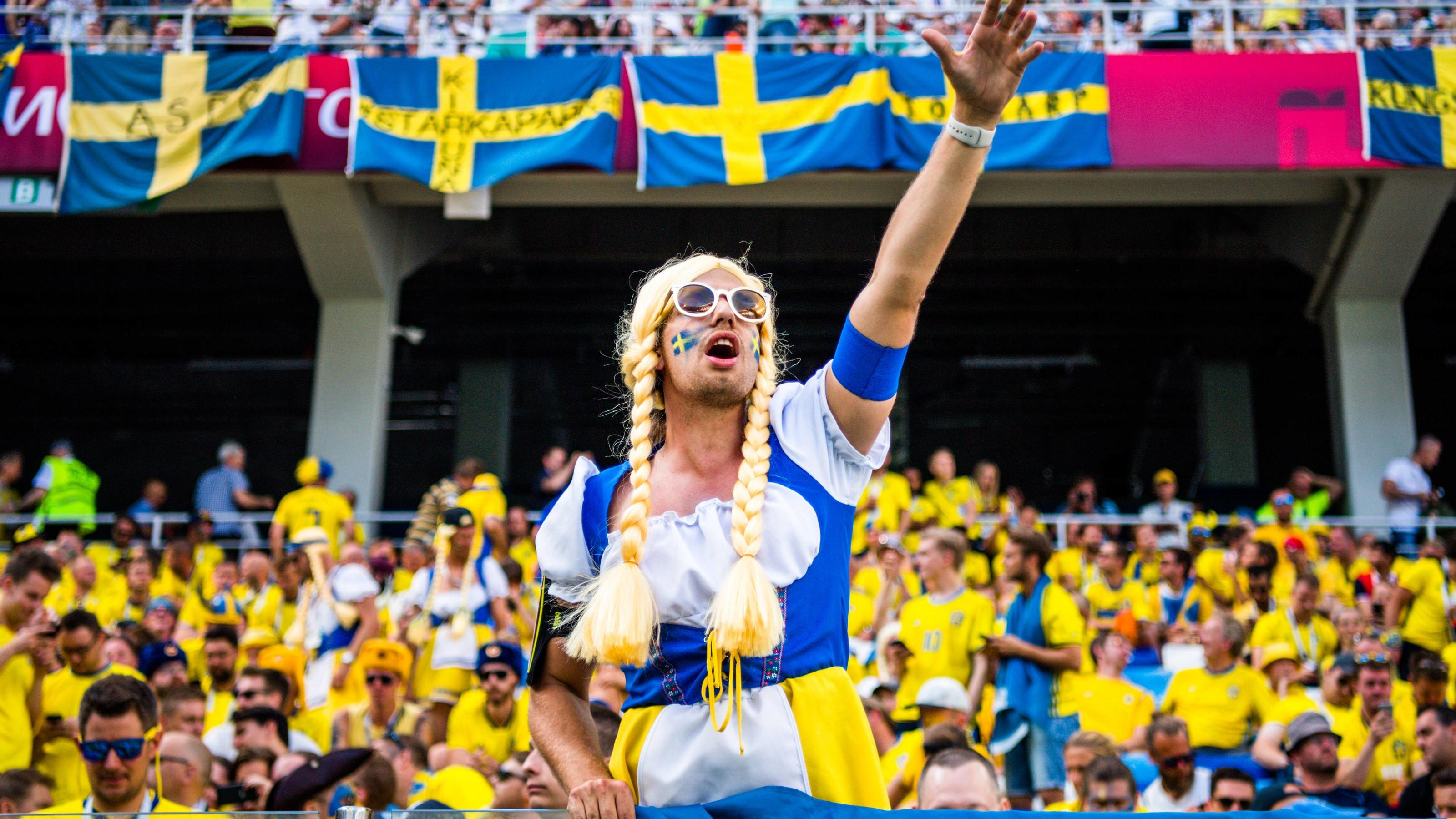 WM 2018, Schweden - Südkorea WM 2018, Schweden - Südkorea  180618 Fans of Sweden looks during the FIFA World Cup WM Weltmeisterschaft Fussball group stage match between Sweden and South Korea on June 18, 2018 in Nizhny Novgorod. Photo: Joel Marklund