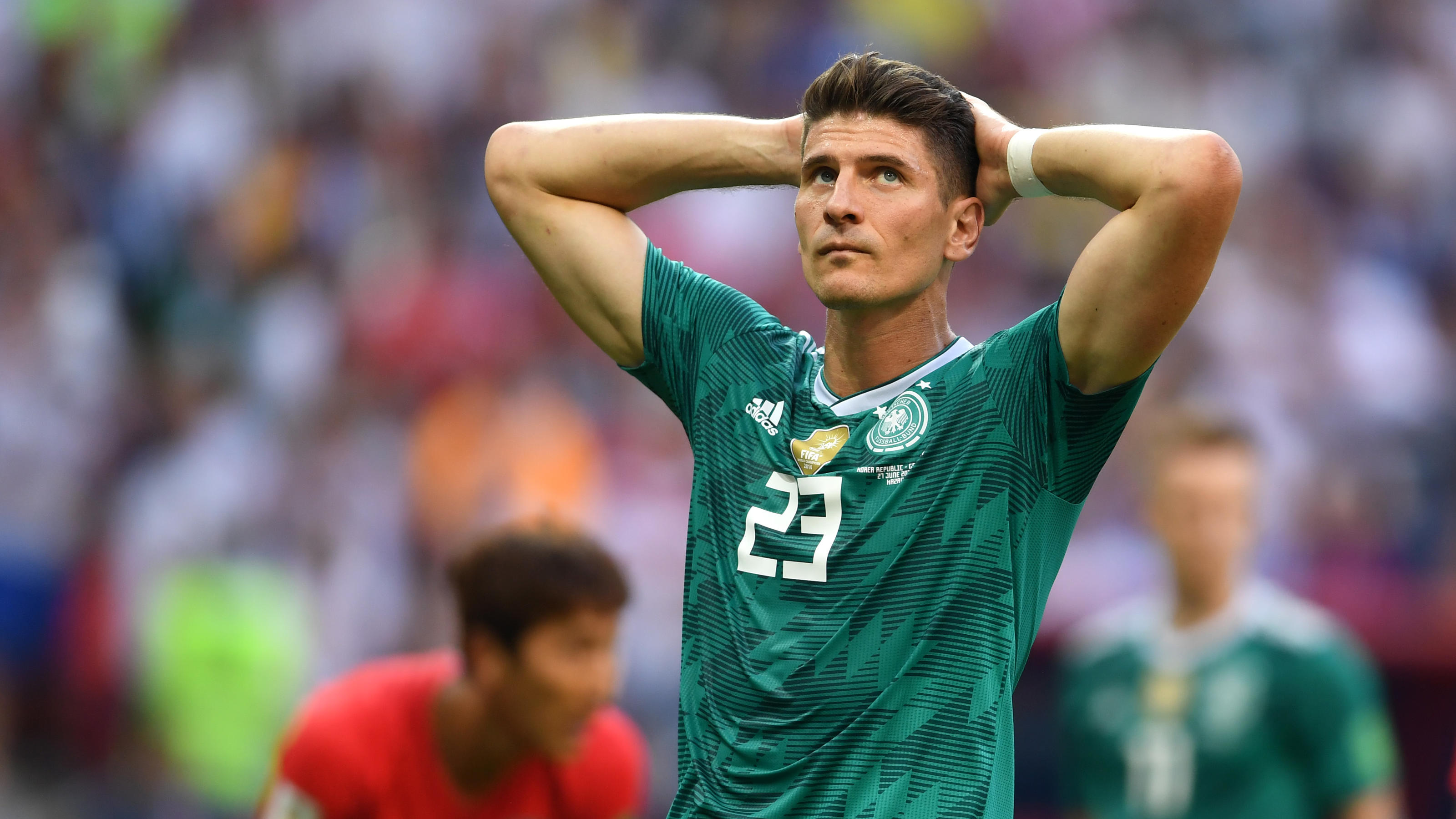KAZAN, RUSSIA - JUNE 27:  Mario Gomez of Germany looks dejected following the 2018 FIFA World Cup Russia group F match between Korea Republic and Germany at Kazan Arena on June 27, 2018 in Kazan, Russia.  (Photo by Laurence Griffiths/Getty Images)