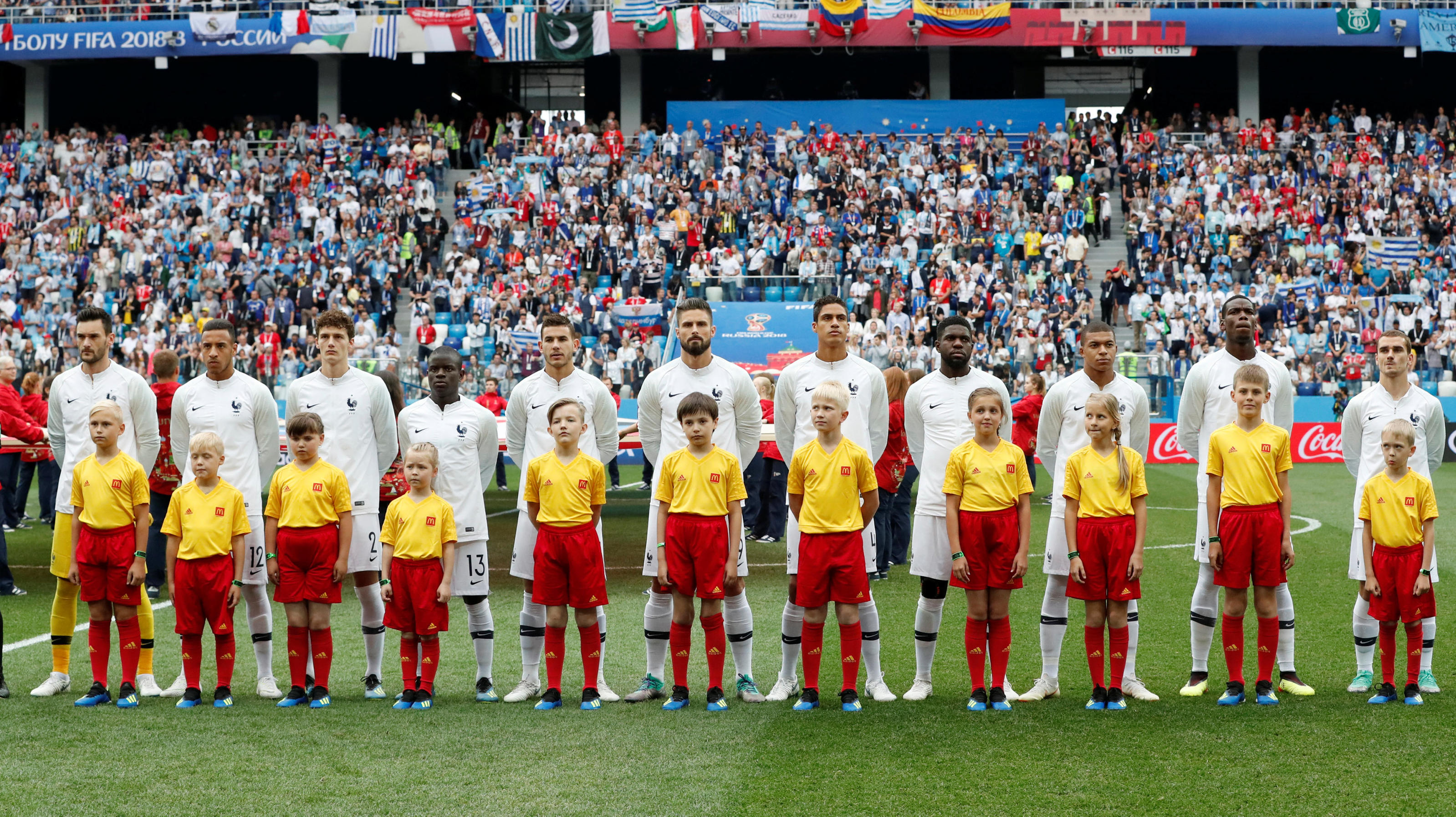 Soccer Football - World Cup - Quarter Final - Uruguay vs France - Nizhny Novgorod Stadium, Nizhny Novgorod, Russia - July 6, 2018  France players line up during the national anthem before the match  REUTERS/Grigory Dukor