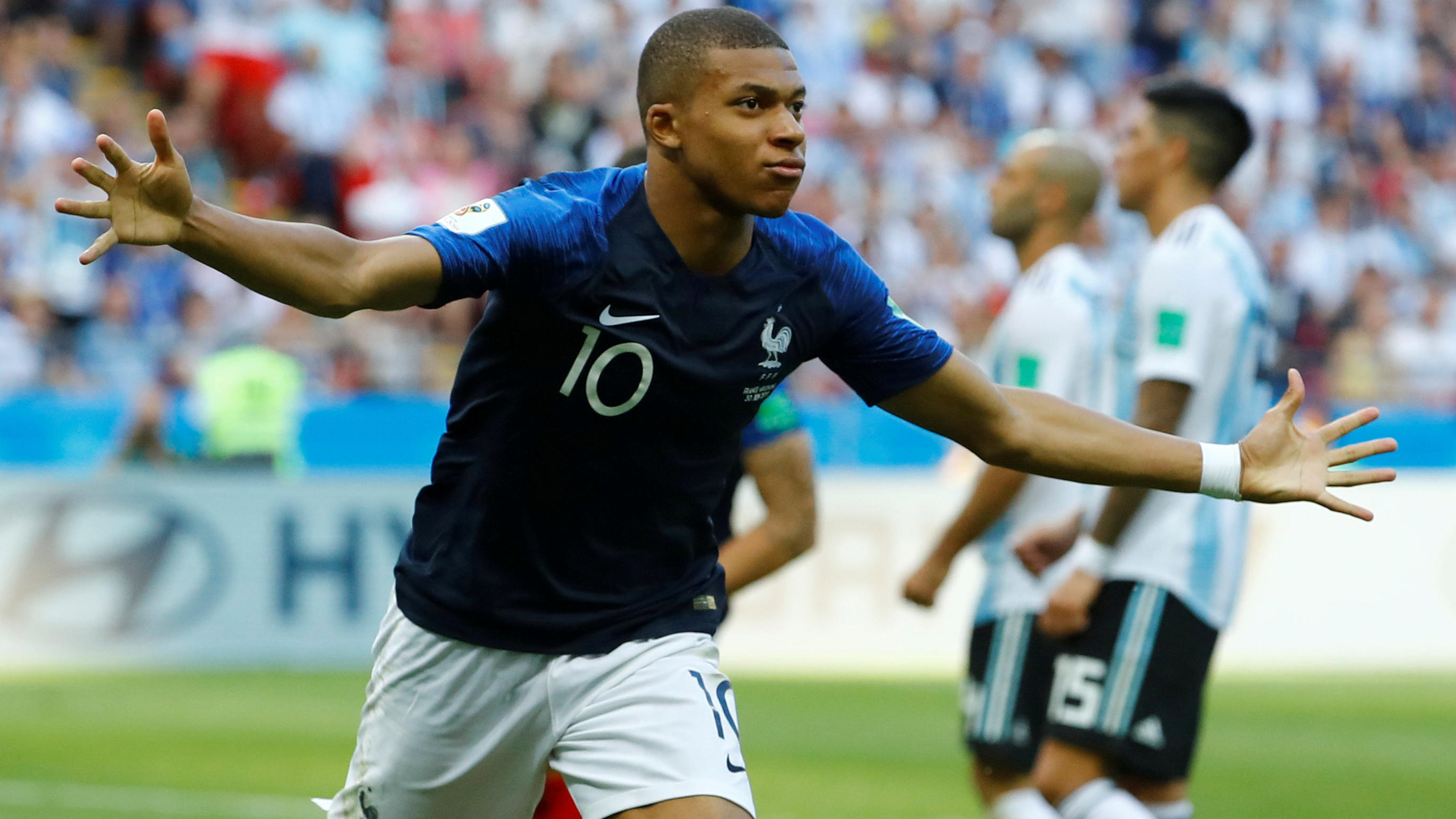 FILE PHOTO: World Cup - Round of 16 - France vs Argentina - Kazan Arena, Kazan, Russia - June 30, 2018  France's Kylian Mbappe celebrates scoring their third goal   REUTERS/Michael Dalder/File Photo