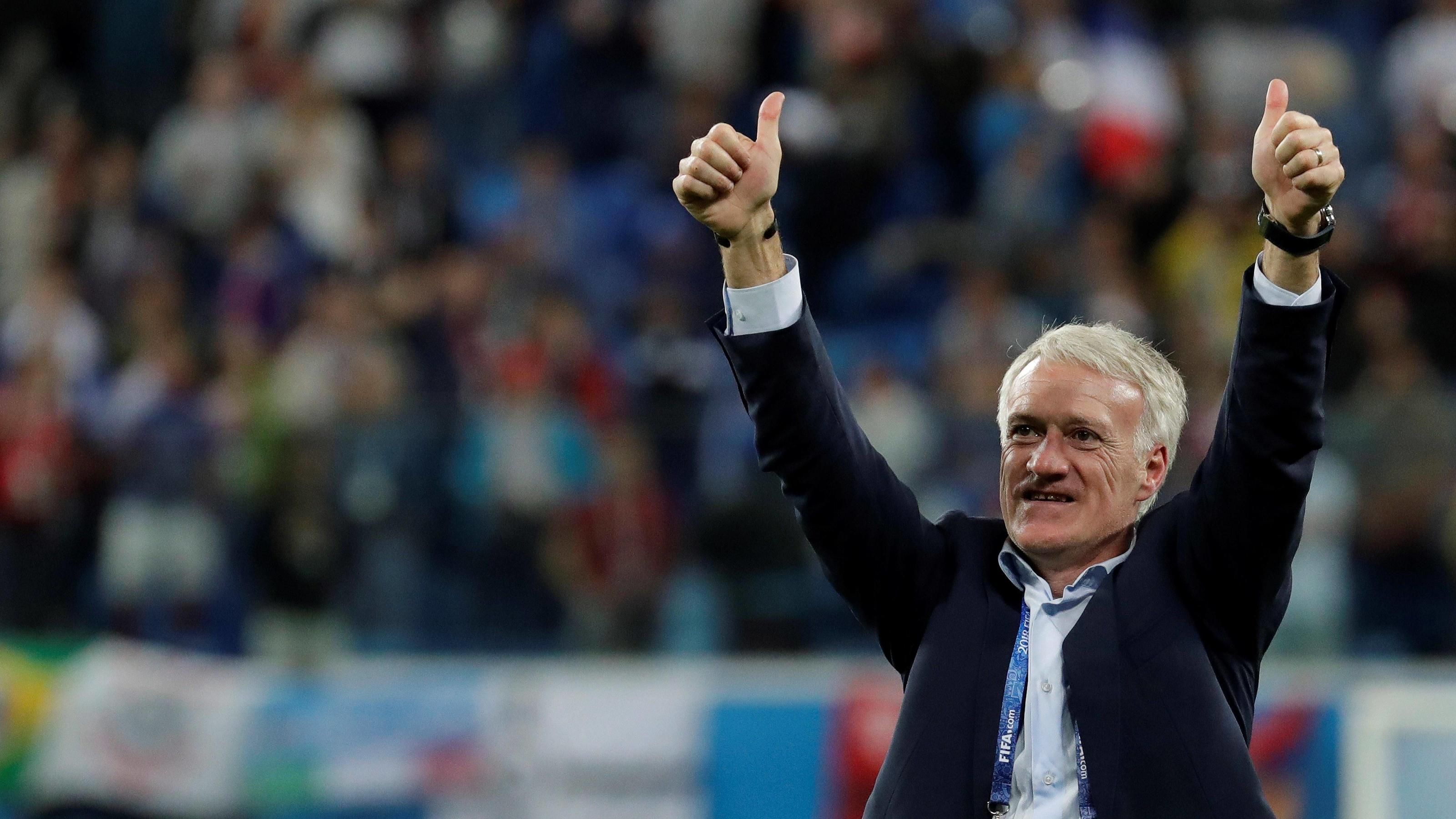 French coach Didier Deschamps celebrates at the end of the FIFA World Cup WM Weltmeisterschaft Fussball 2018 semi-finals soccer match between France and Belgium, at Saint Petersburg Stadium, Russia, 10 July 2018. FRANCE VS. BELGIUM !ACHTUNG: NUR REDA