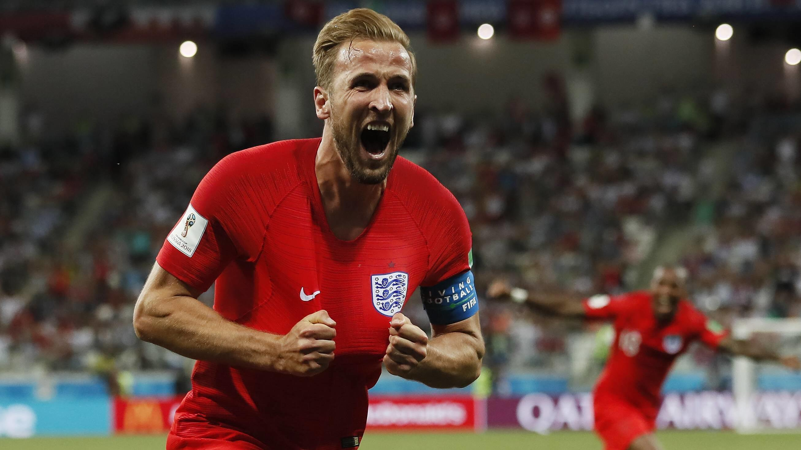 WM 2018, Tunesien - England Harry Kane of England celebrates scoring his winning goal during the FIFA World Cup WM Weltmeisterschaft Fussball 2018 Group G match at the Volgograd Arena, Volgograd. Picture date 18th June 2018. Picture credit should rea
