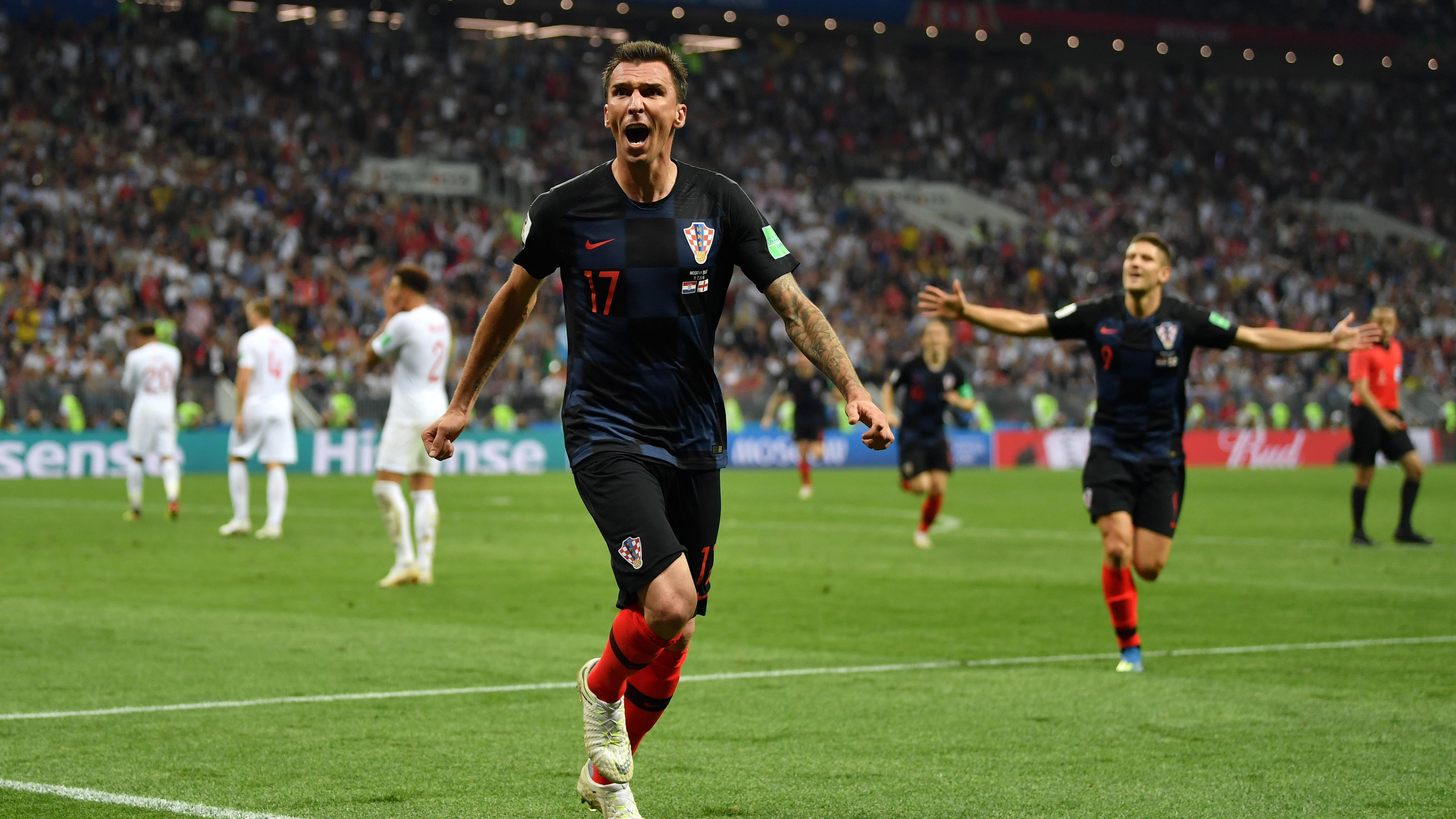 MOSCOW, RUSSIA - JULY 11:  Mario Mandzukic of Croatia celebrates after scoring his team's second goal during the 2018 FIFA World Cup Russia Semi Final match between England and Croatia at Luzhniki Stadium on July 11, 2018 in Moscow, Russia.  (Photo b