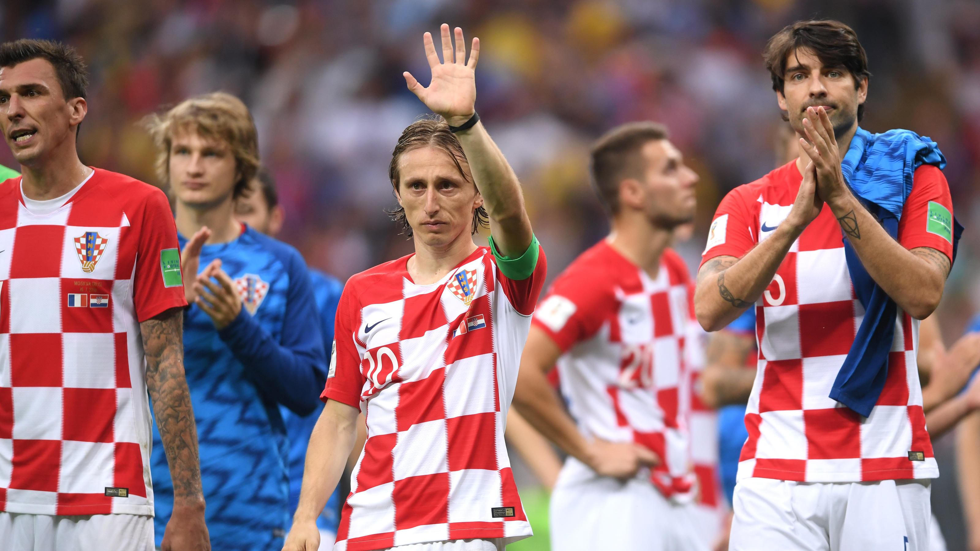 MOSCOW, RUSSIA - JULY 15:  Luka Modric of Croatia applauds fans after the 2018 FIFA World Cup Final between France and Croatia at Luzhniki Stadium on July 15, 2018 in Moscow, Russia.  (Photo by Laurence Griffiths/Getty Images)