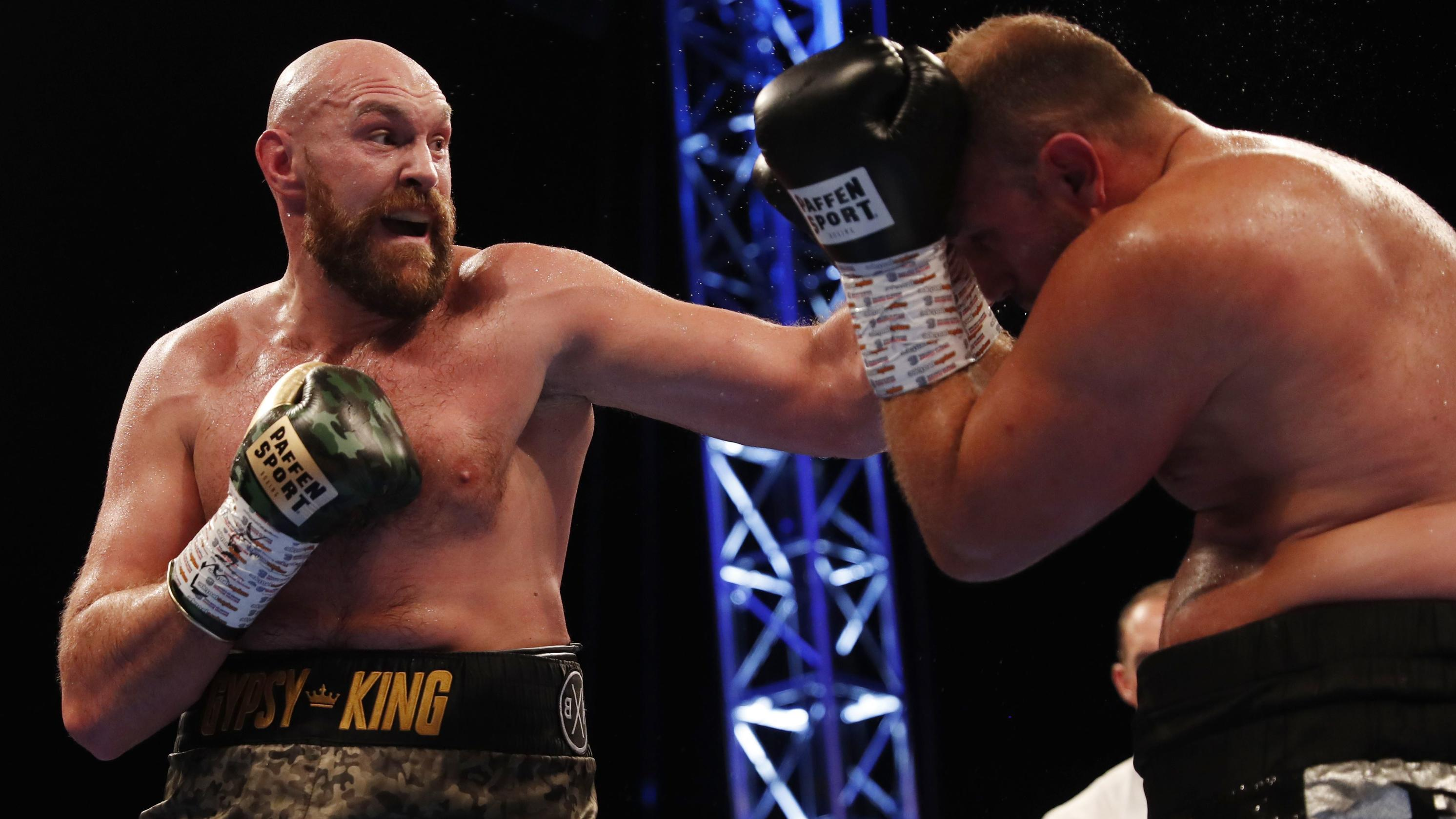 Boxing - Tyson Fury v Francesco Pianeta - Windsor Park, Belfast, Britain - August 18, 2018. Tyson Fury in action against Francesco Pianeta. Action Images via Reuters/Lee Smith