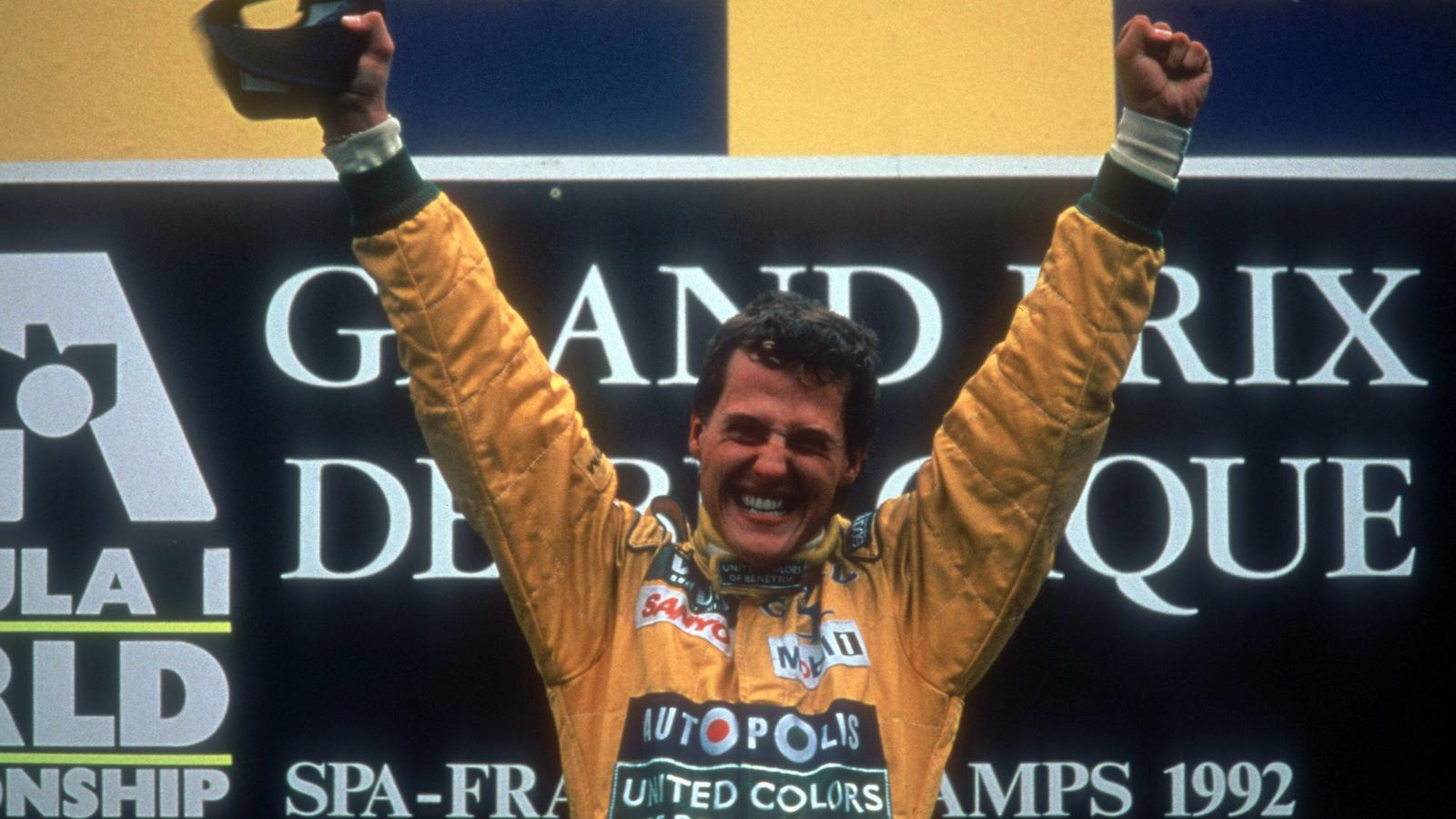 Michael Schumacher (Deutschland / Benetton Ford) bejubelt seinen ersten Formel 1 Sieg beim GP von Belgien 1992Michael Schumacher Germany Benetton Ford cheered his first Formula 1 Victory the GP from Belgium 1992
