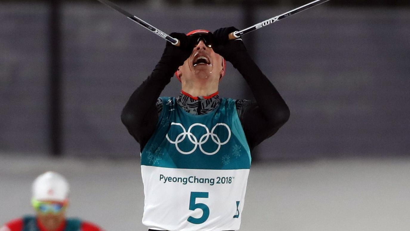 Nordic Combined Events – Pyeongchang 2018 Winter Olympics – Men's Individual 10km Final – Alpensia Cross-Country Skiing Centre - Pyeongchang, South Korea – February 14, 2018 - Eric Frenzel of Germany approaches the finish line ahead of Akit